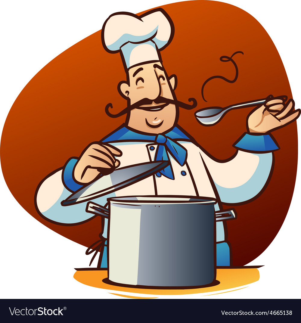 Cartoon cook character Royalty Free Vector Image