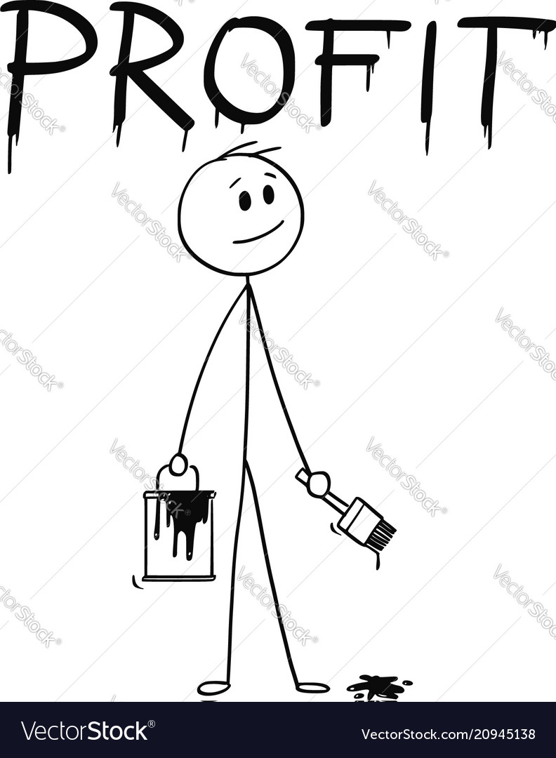 Cartoon of businessman with brush and paint can