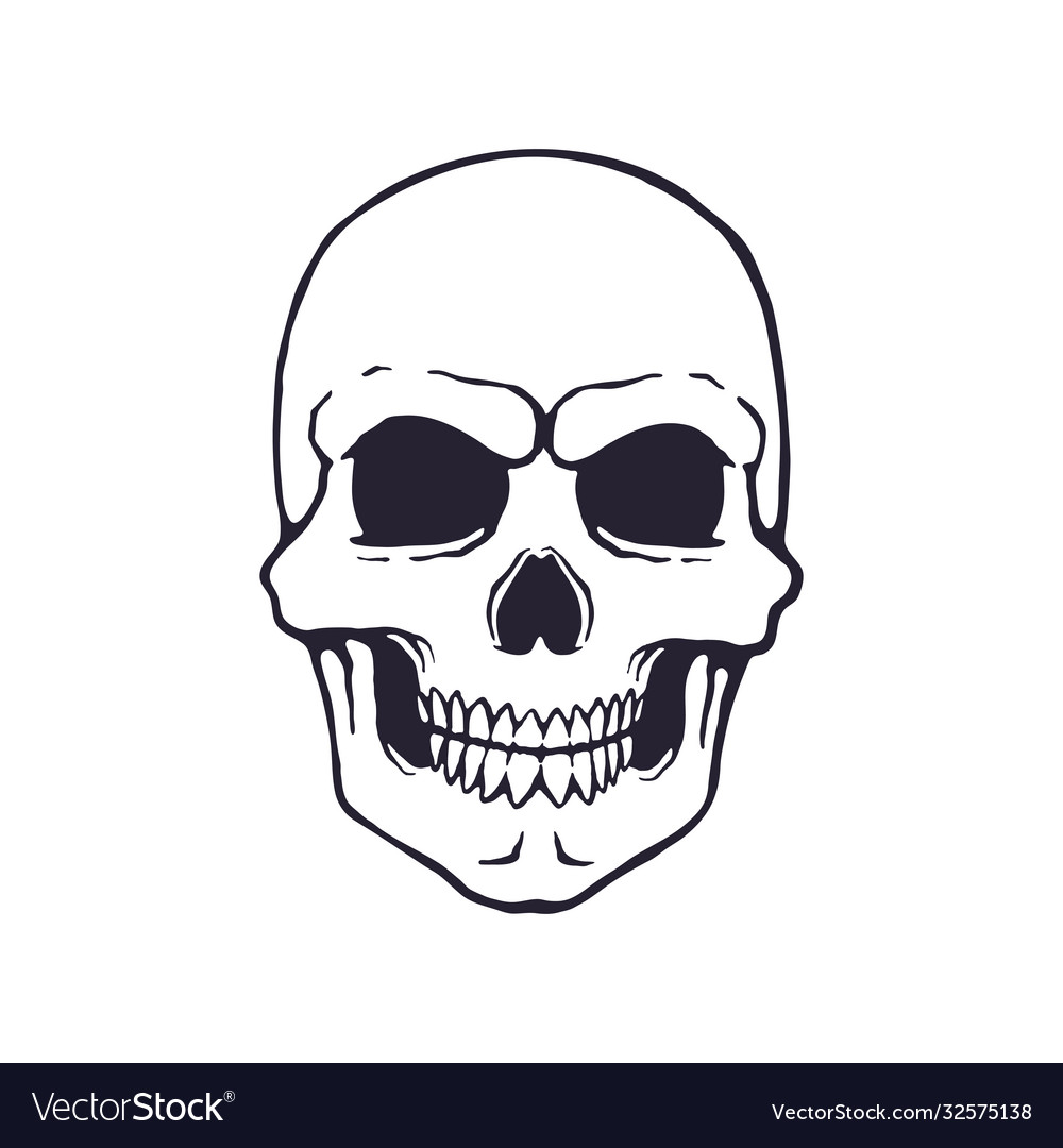 Doodle human skull with a terrible smile