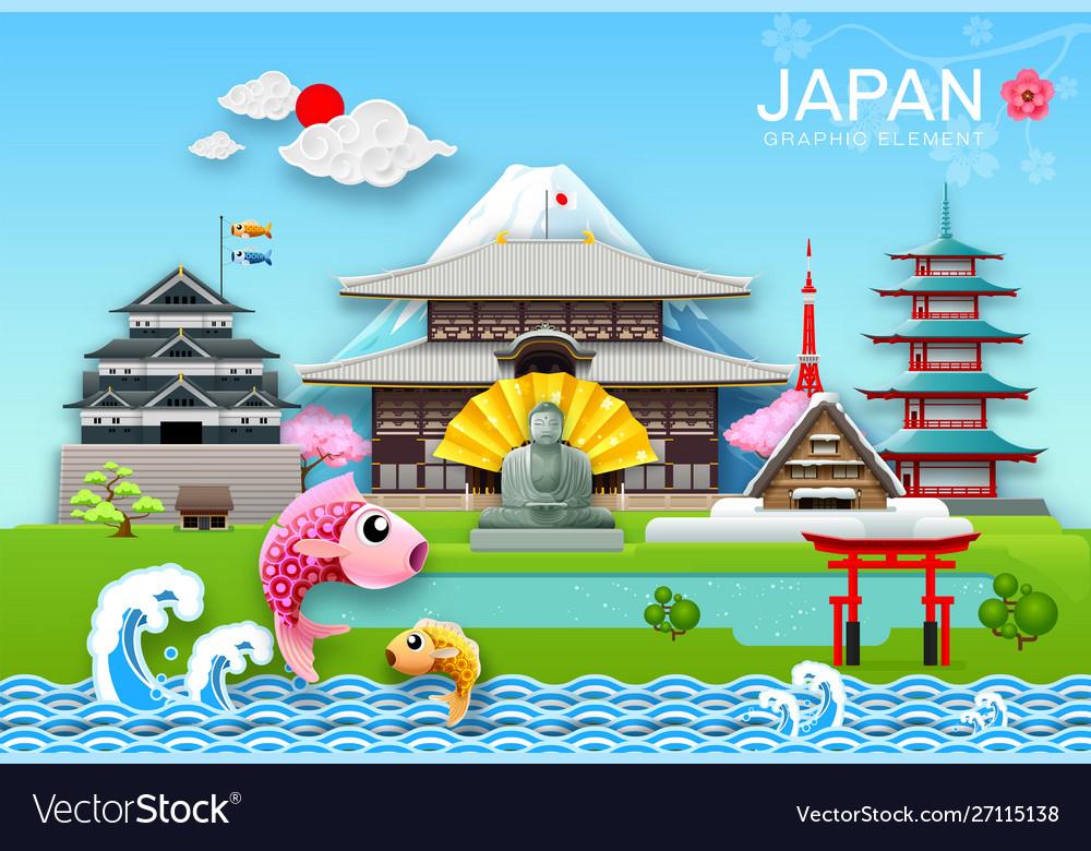 Japan landmark travel object paper cut origami
