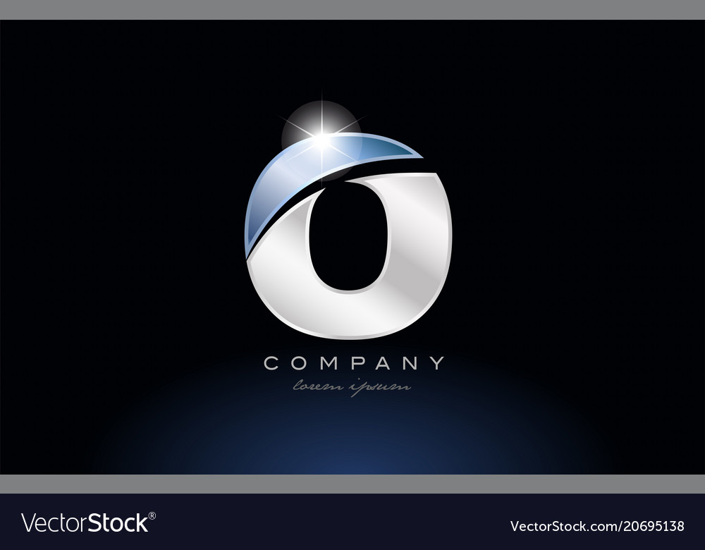 Metal blue alphabet letter o logo company icon