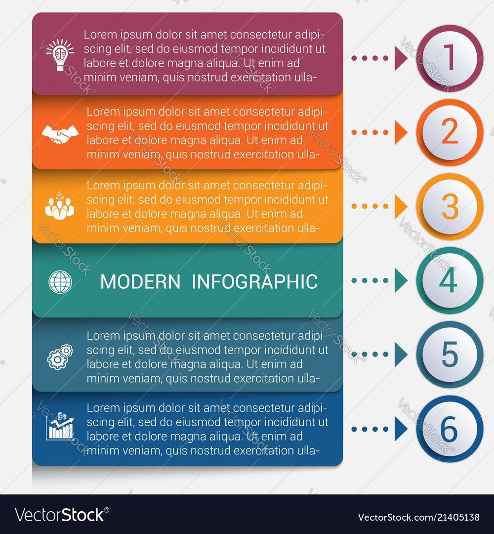 Modern strips infographics 6 options banner