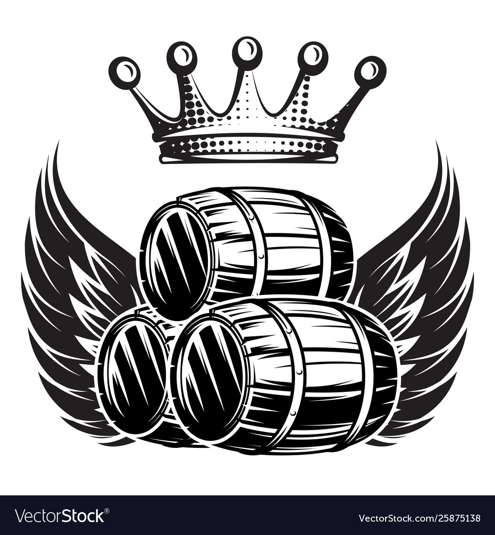 Monochrome with cask wings and crown