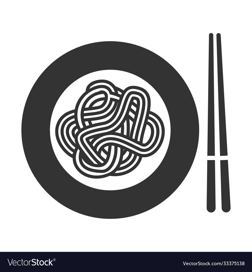 Noodle icon thin long strip pasta in plate
