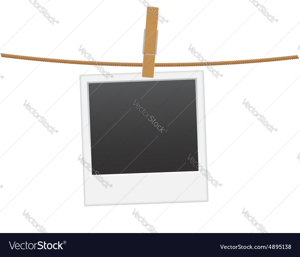 Retro photo frame hanging on a rope 01 vector image