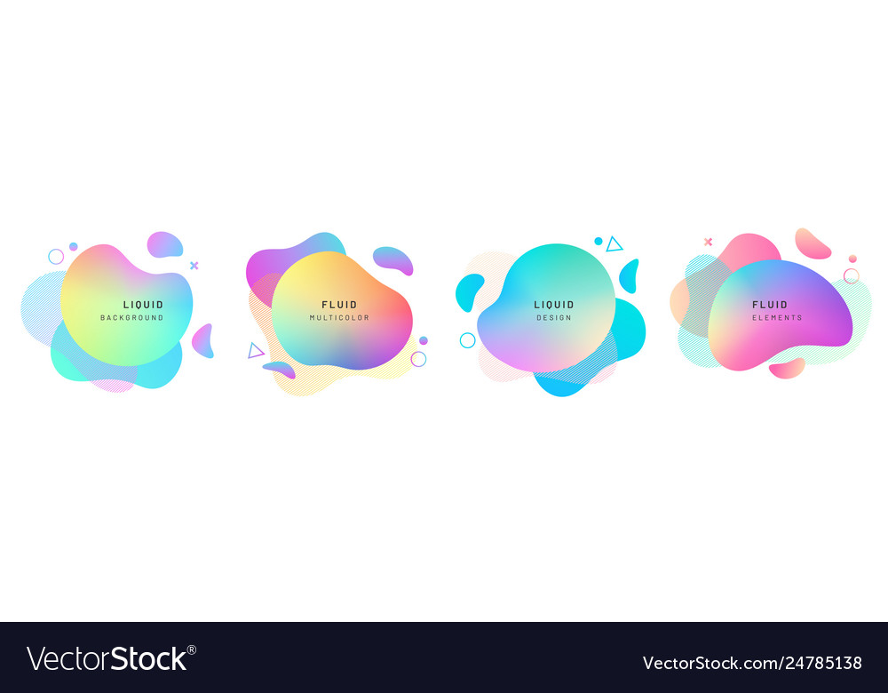 Set isolated abstract liquid shapes dynamic