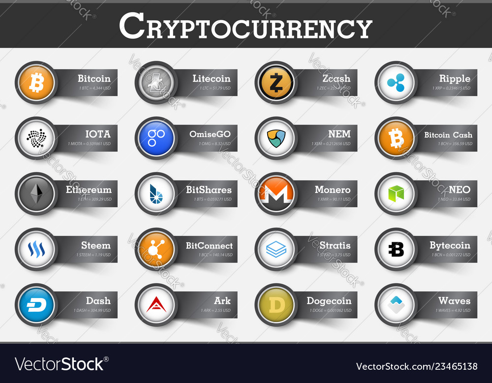 Set of cryptocurrency icon and label with value