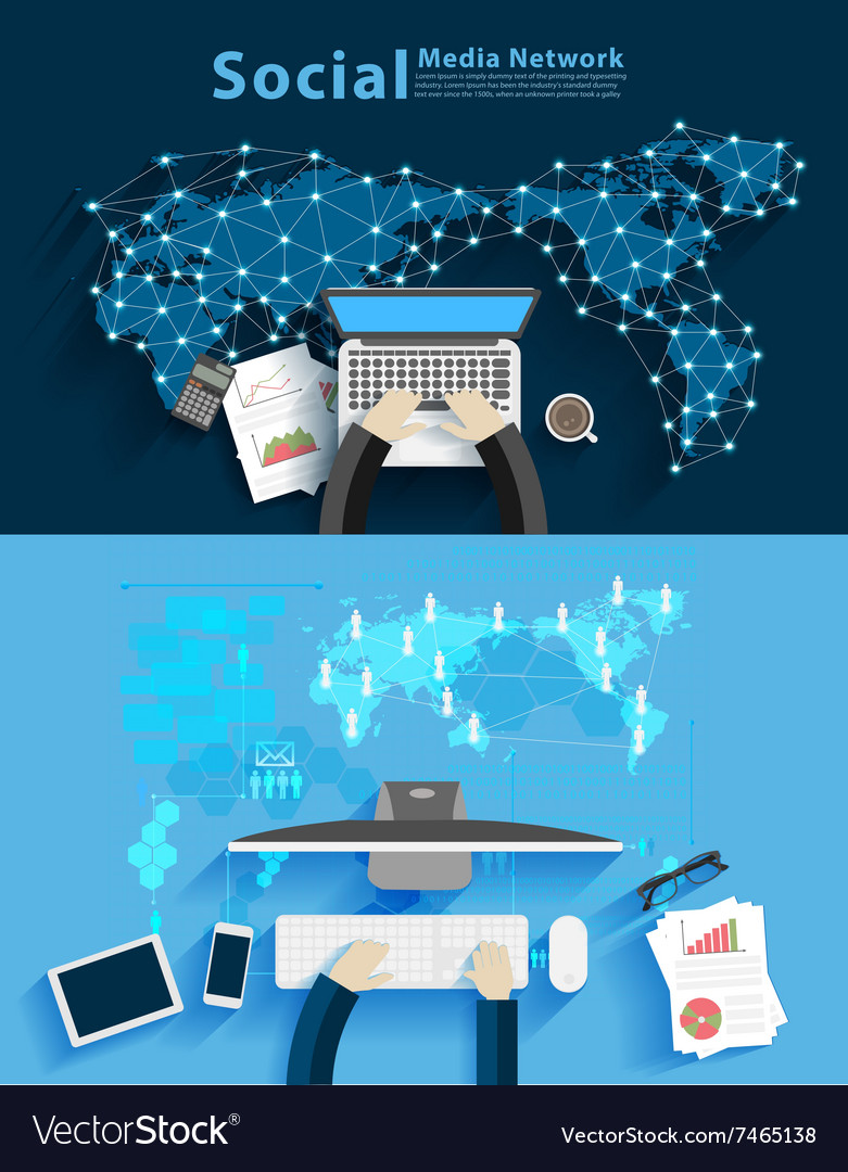 Social media network business man working vector image