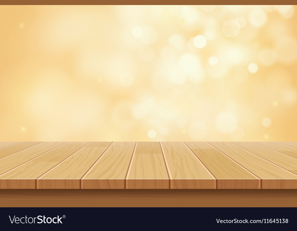 table background dark wood table top on golden bokeh abstract background vector image
