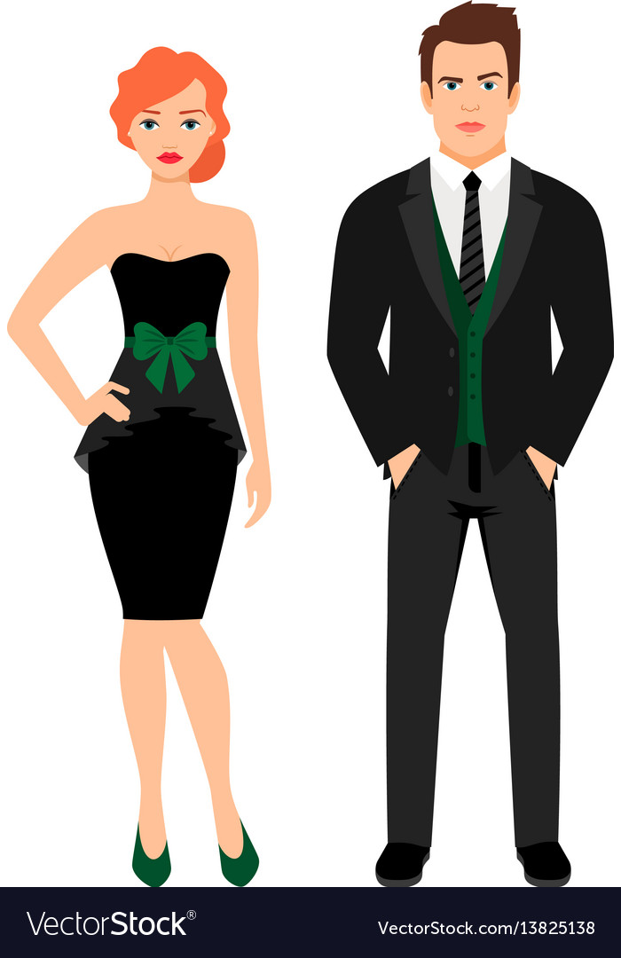 Young couple in black fashion outfit