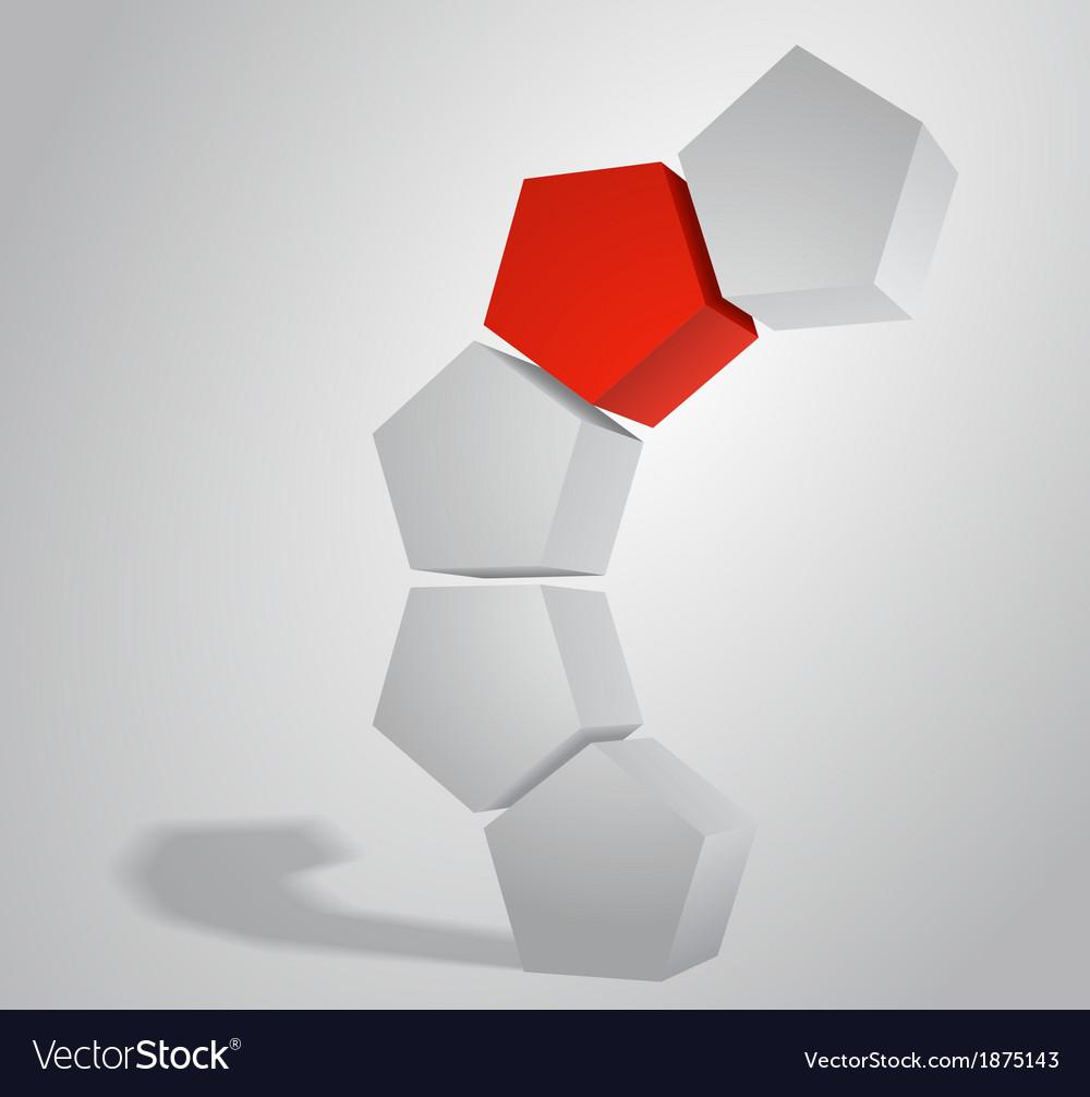 3D Pentagonal Prism Pentaprism Abstract