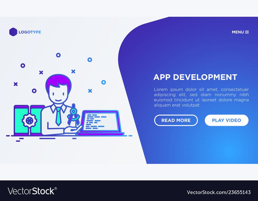 App development developer coding on laptop
