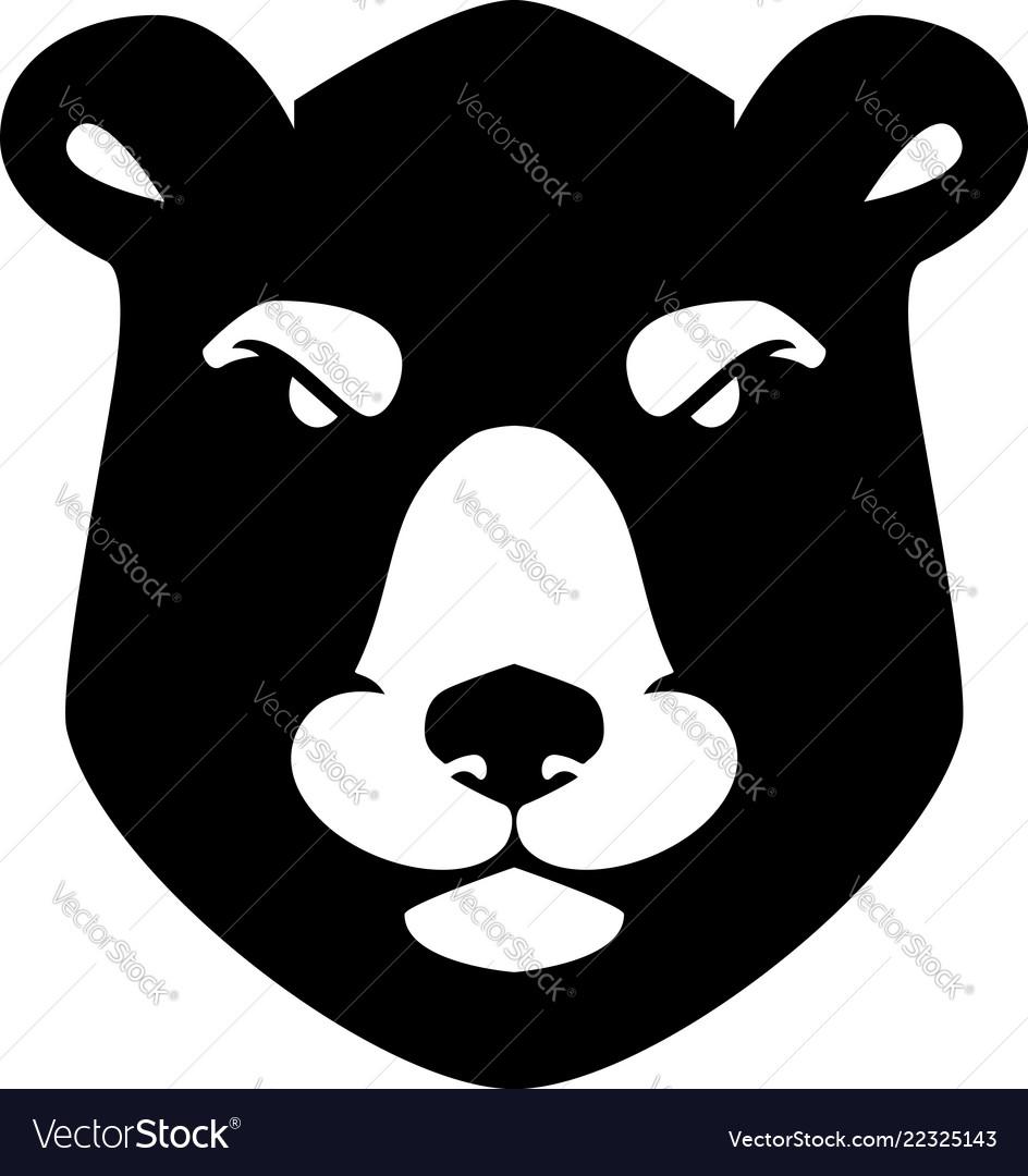 Bear head sign on white background design element
