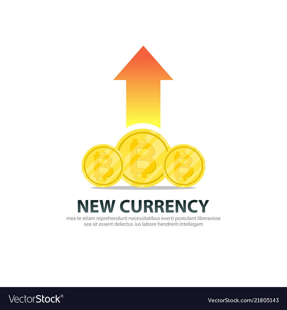 Bitcoin new currency with growth logo template