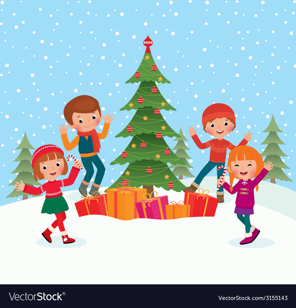 Christmas Celebration Cartoon Images.Children Celebrate Christmas