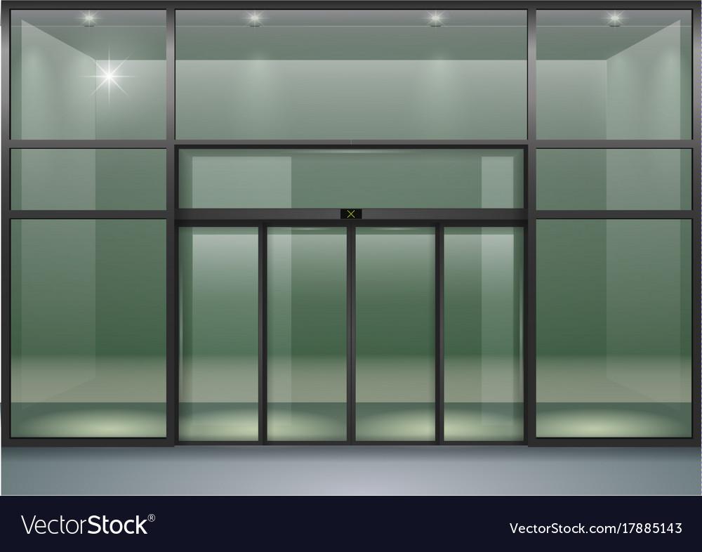 Facade with sliding doors vector image