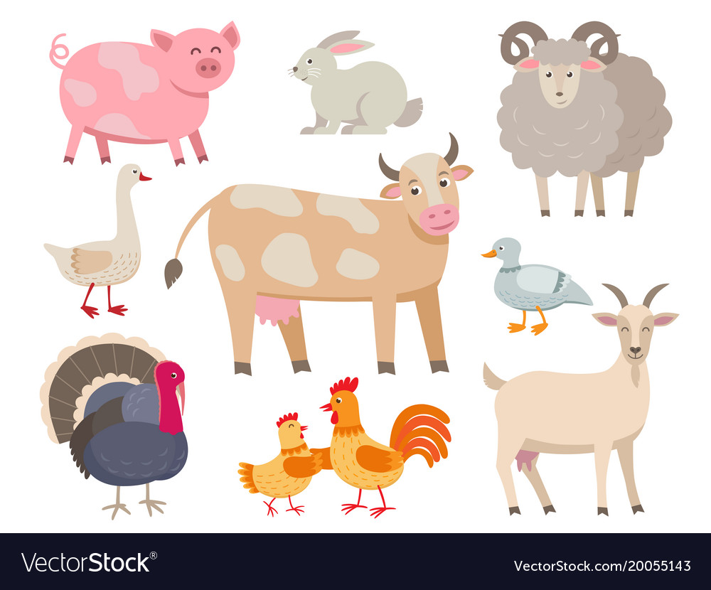 Farm animals flat collection isolated on