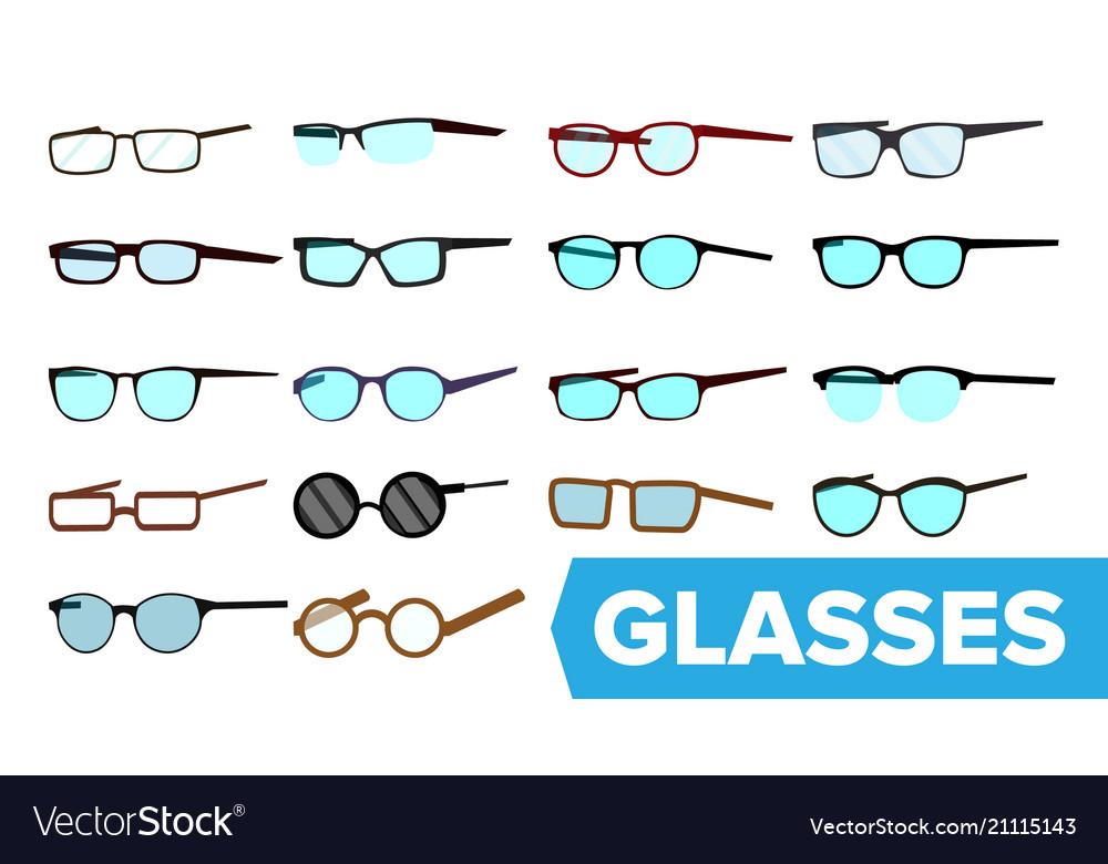 Glasses set modern glasses icon different