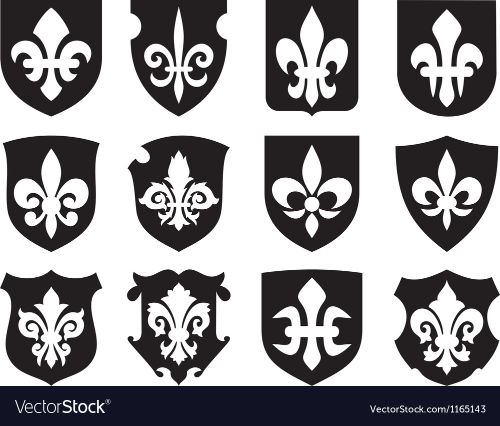 Lily Flower Heraldic Symbol With Shields Vector Image