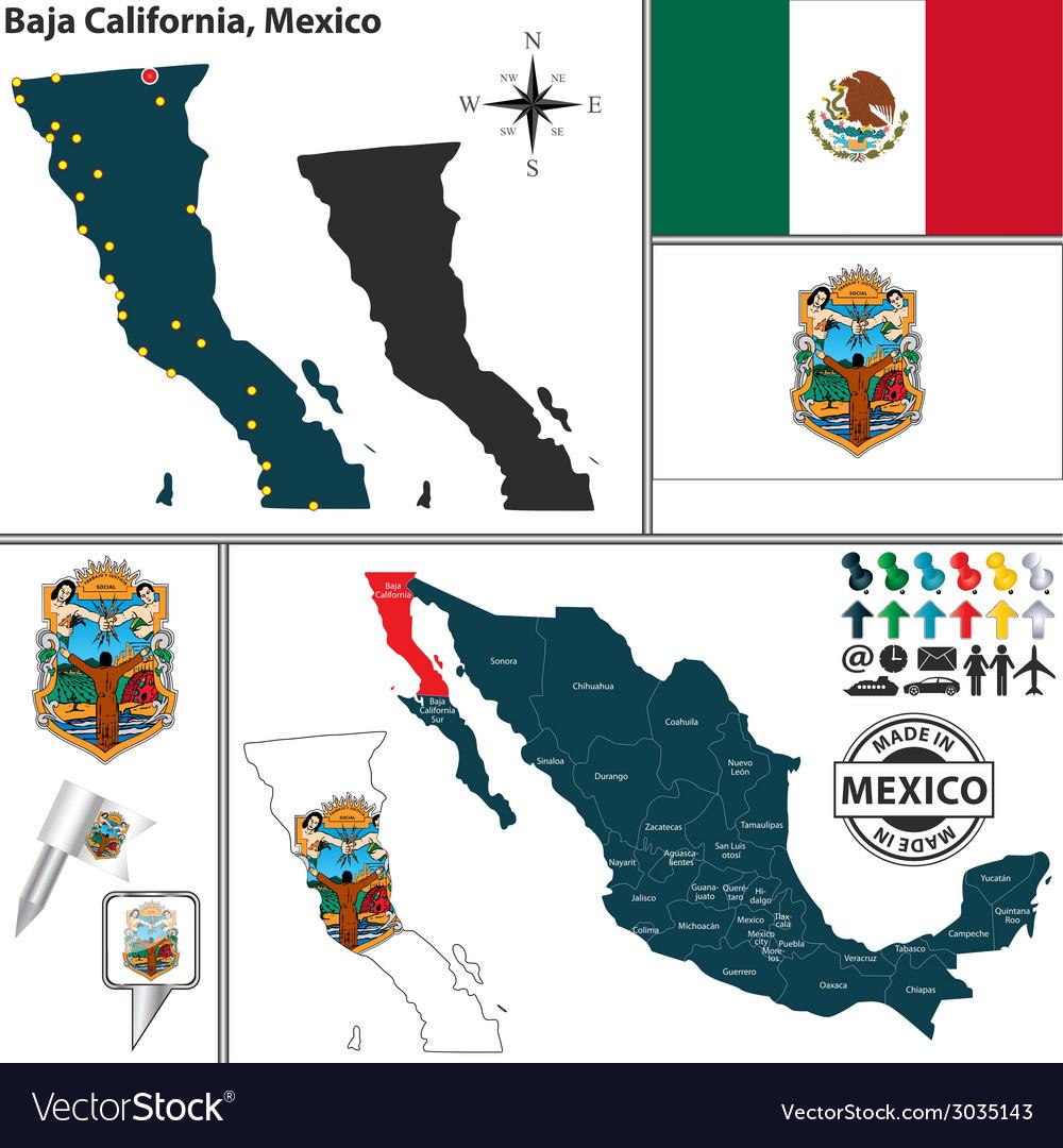 Map Of Baja California Royalty Free Vector Image