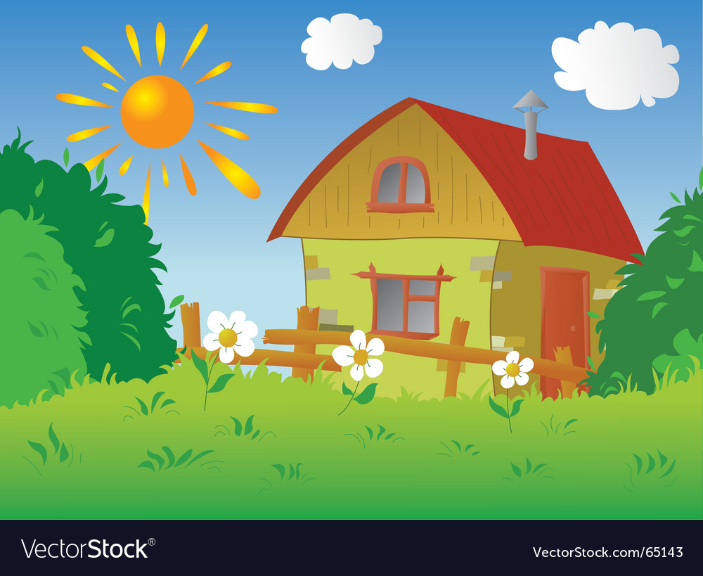 Rural cottage vector image