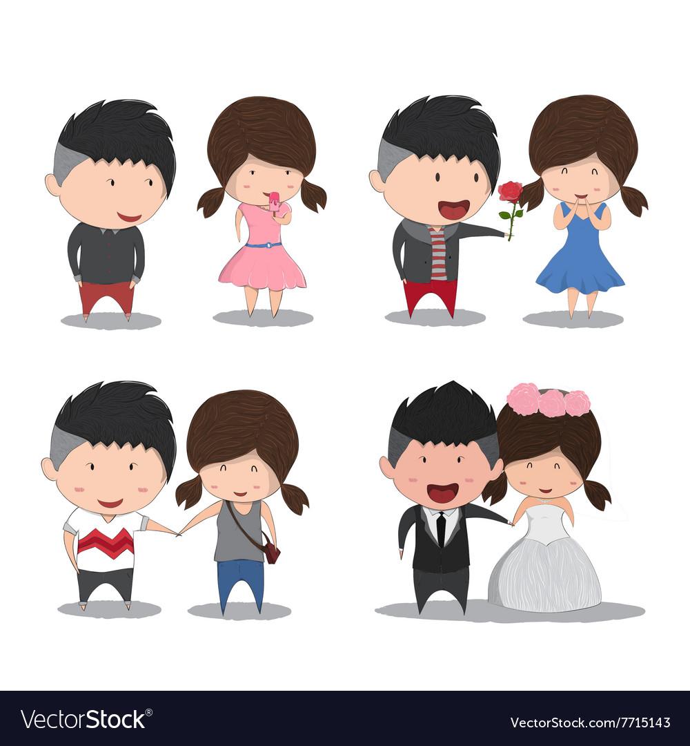 Set character cute cartoon wedding couples cute