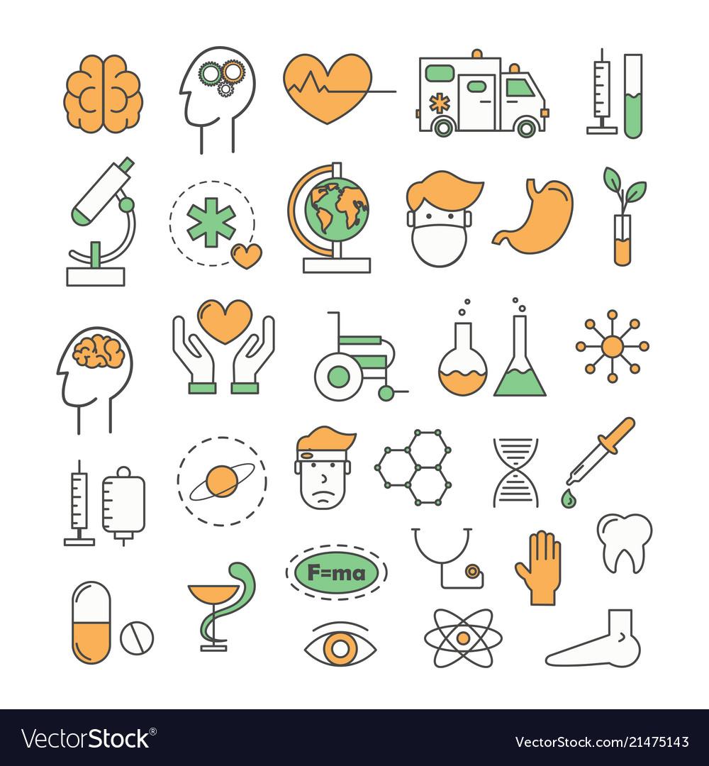 Thin line art style design medicine icons