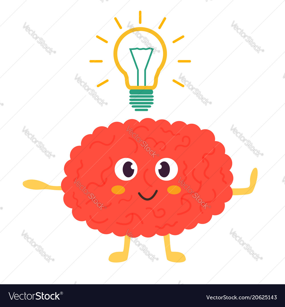 Train your brain poster with funny cartoon brain