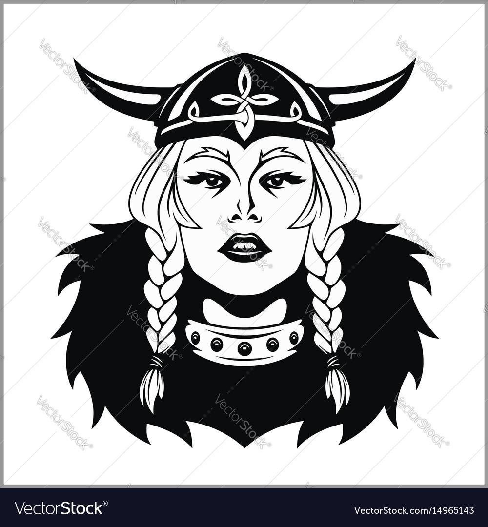 Viking woman warrior vector image