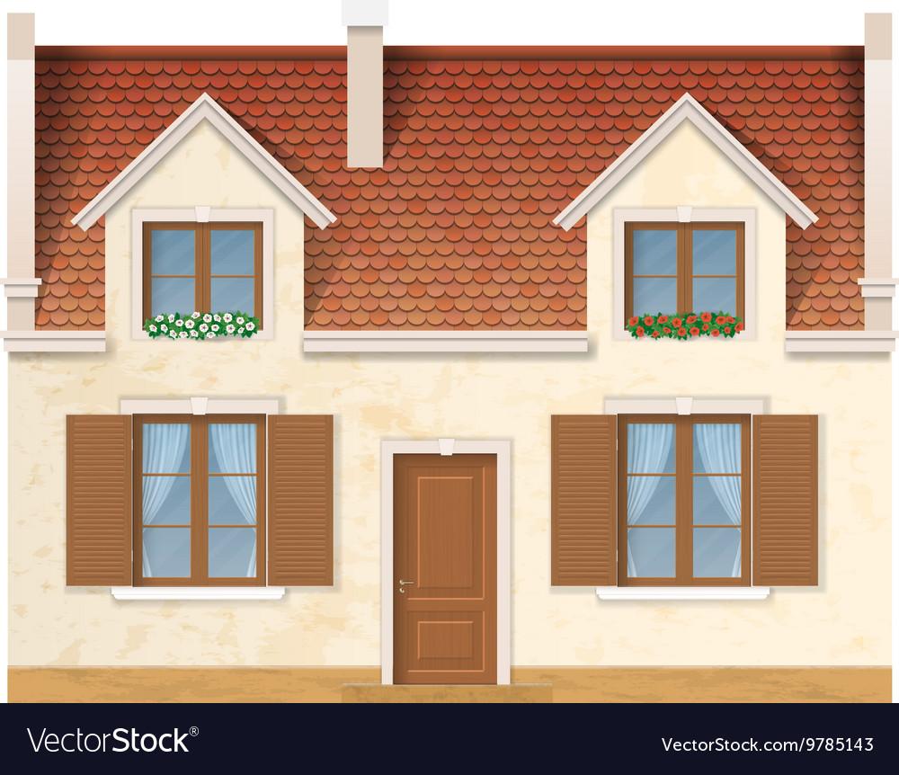 Village house facade vector image