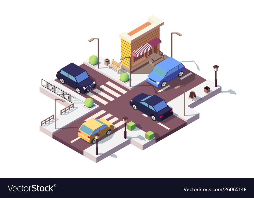 3d isometric landscape with car on street