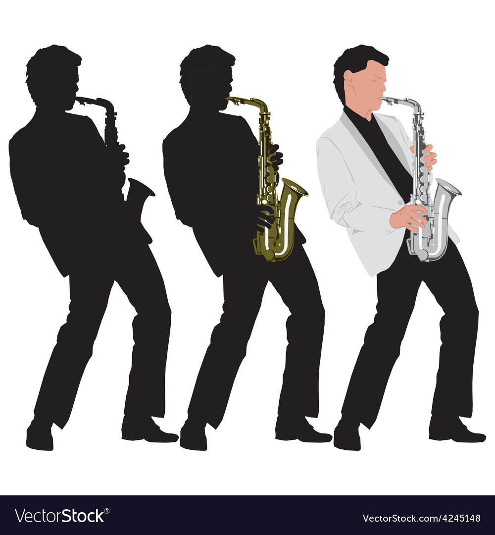 Abstract music with silhouette of saxophone player