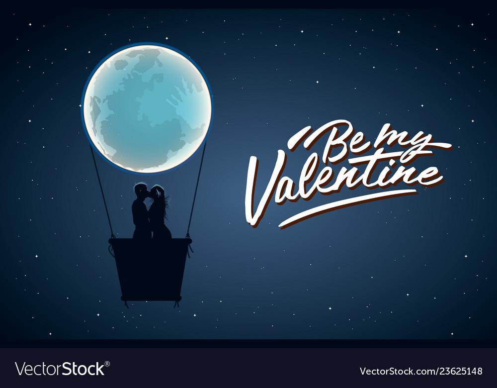 Be my valentine silhouette loving couple