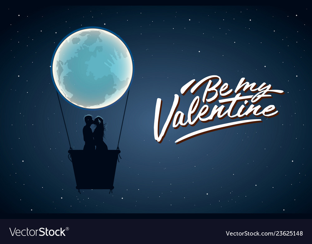 Be my valentine silhouette of loving couple