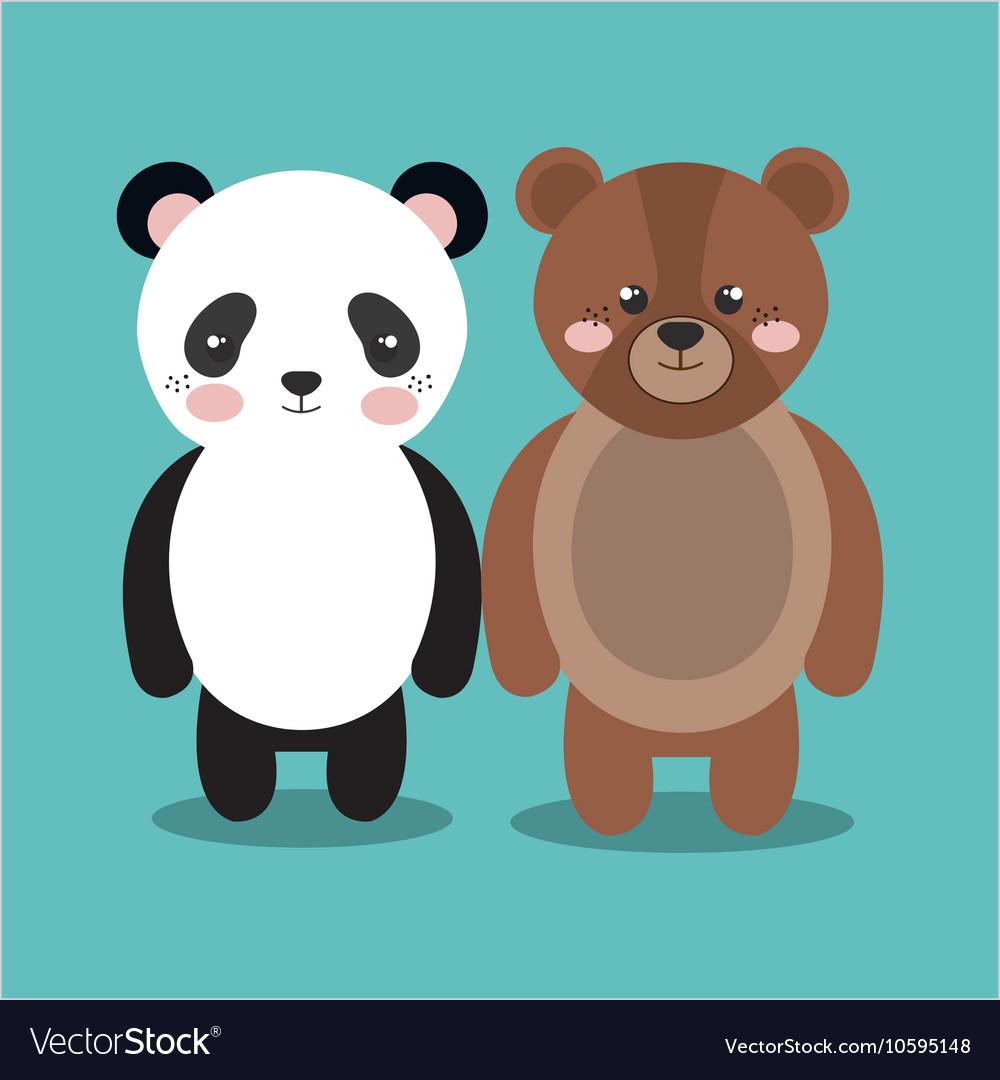 Cartoon Animal Panda Bear Plush Stuffed Design Vector Image