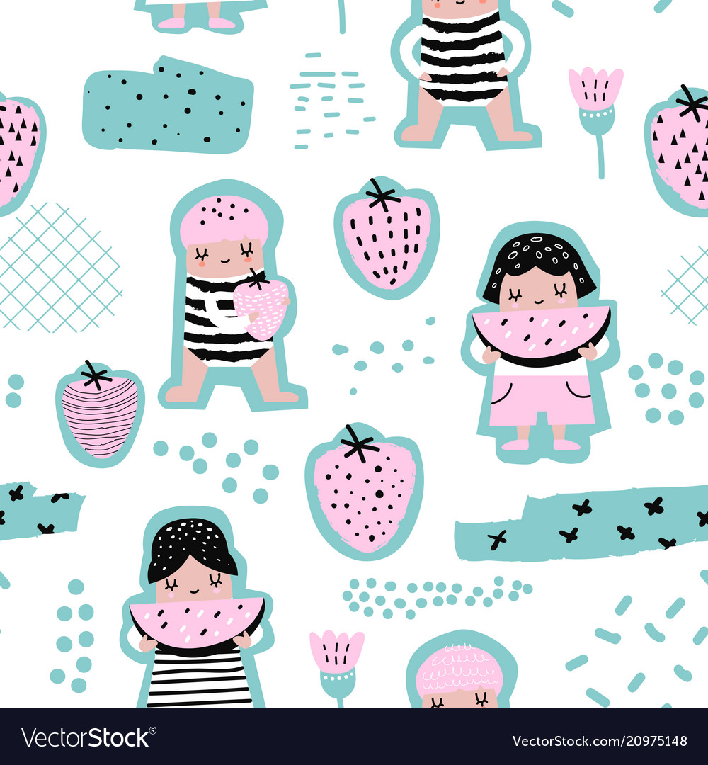Childish seamless pattern with girls with fruits
