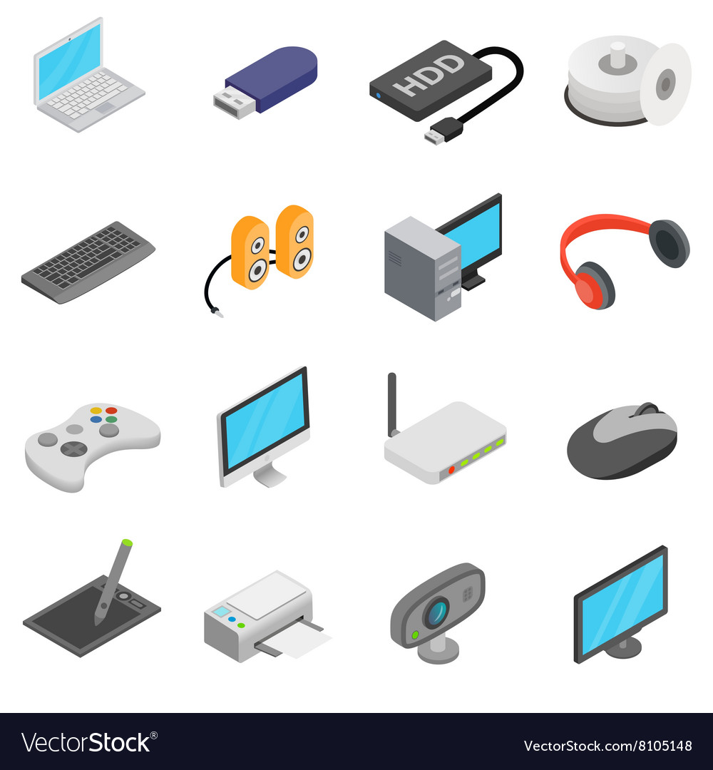 Computer icons set isometric 3d style vector image