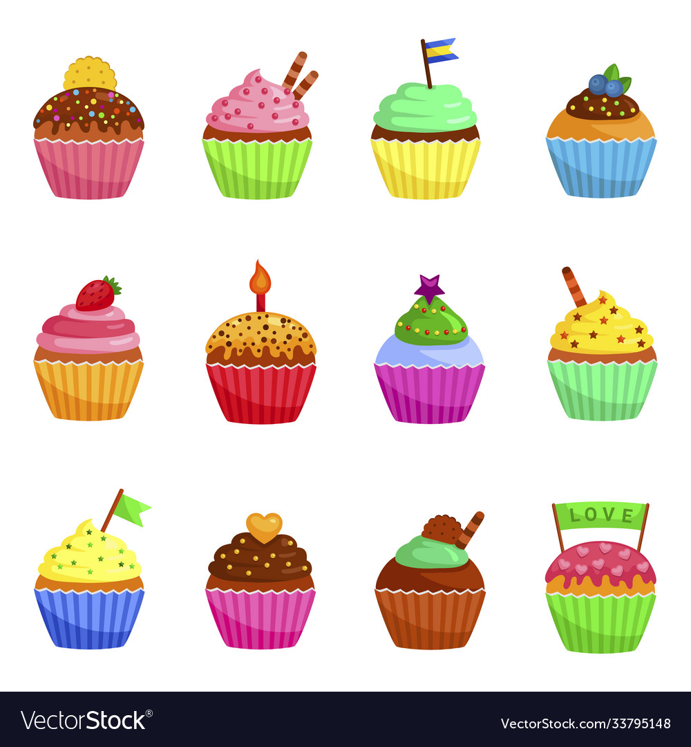 Cupcakes icons set muffins decorated with cookie