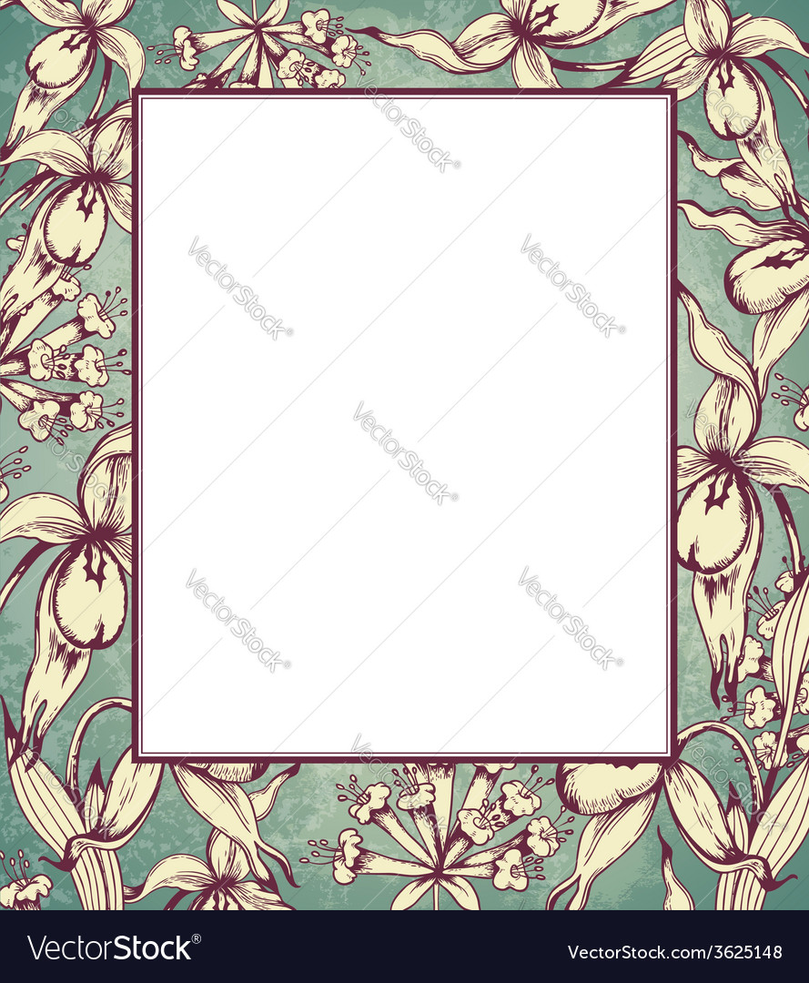 Decorative hand drawn floral frame with orchids