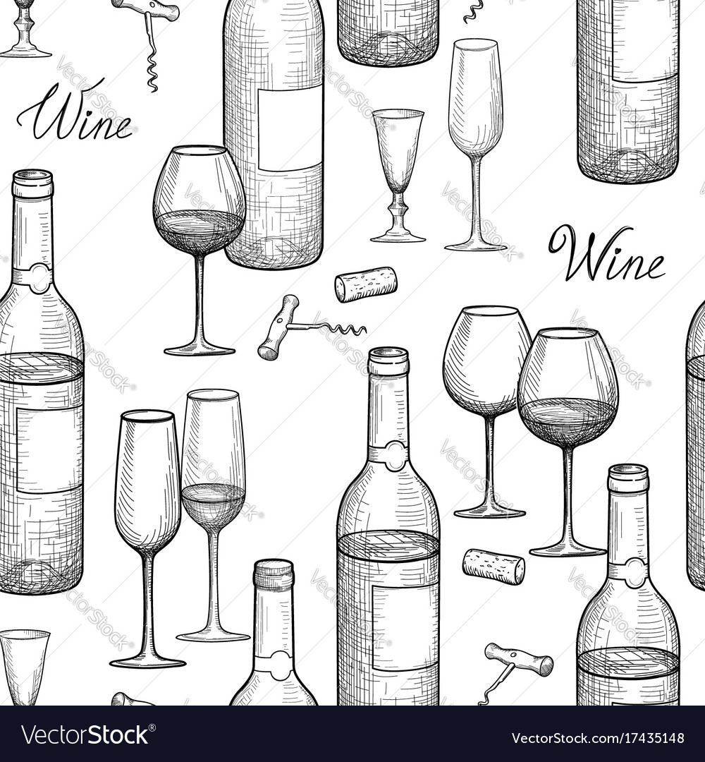 Drink wine seamless engrave pattern wine glass