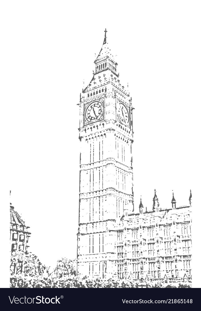 Elizabeth tower big ben hand drawn