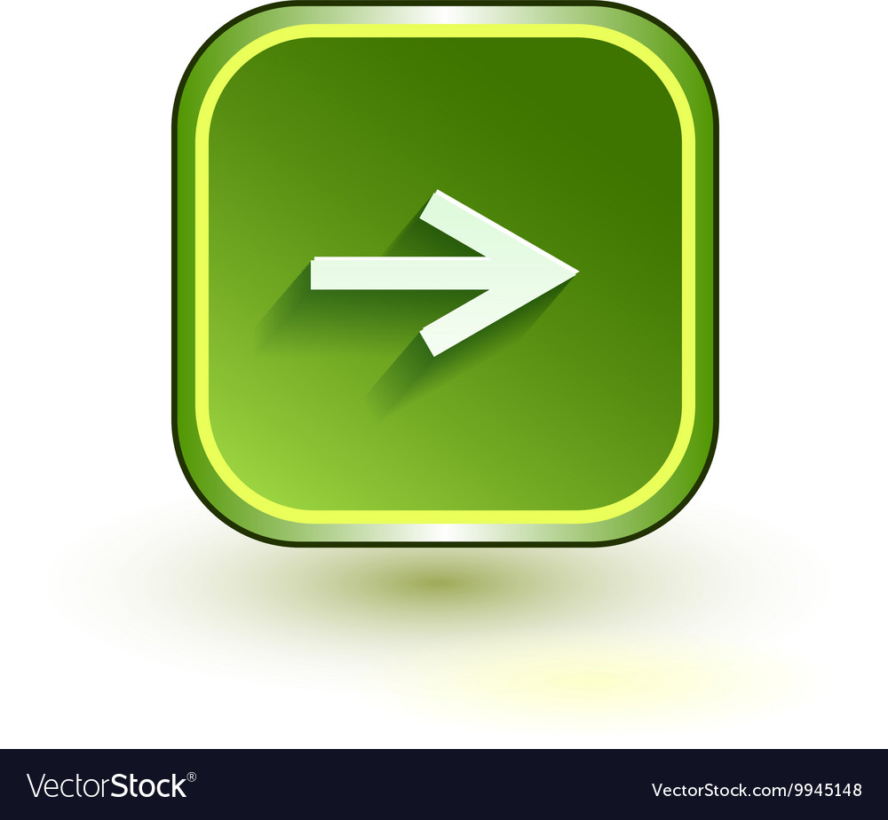 Green web button with arrow right sign Rounded