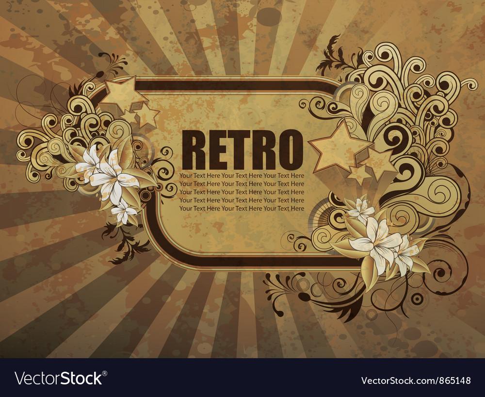 Grunge retro floral frame