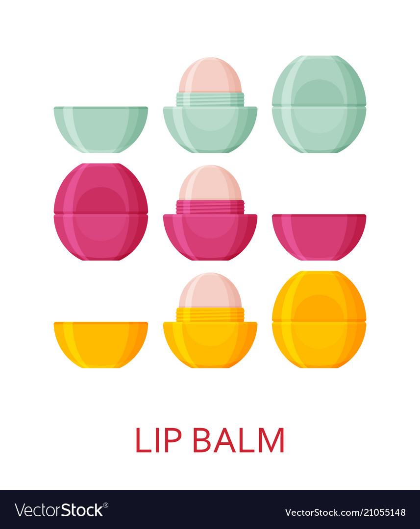 Lip balm set cosmetic icons collection