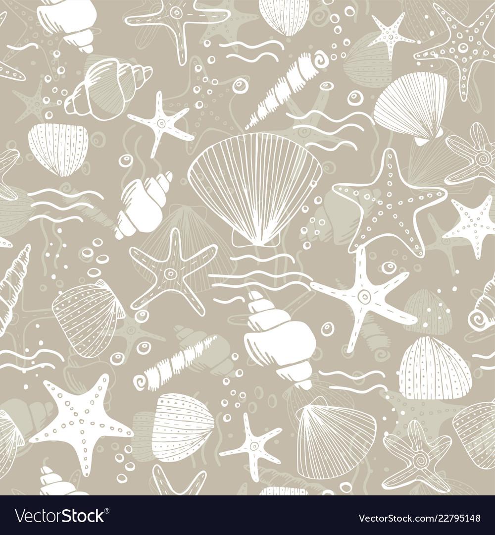 Marine seamless pattern sea life