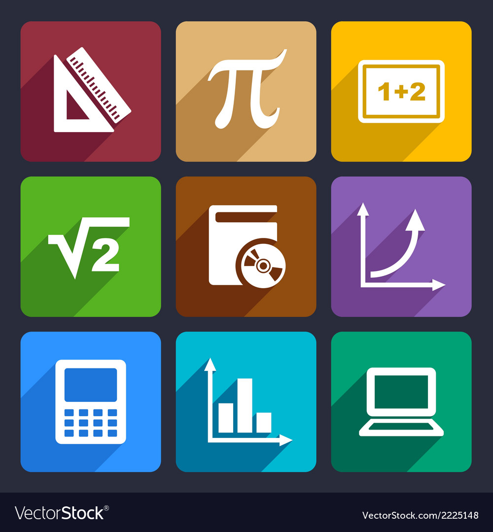 Mathematics Flat Icons Set 52 vector image