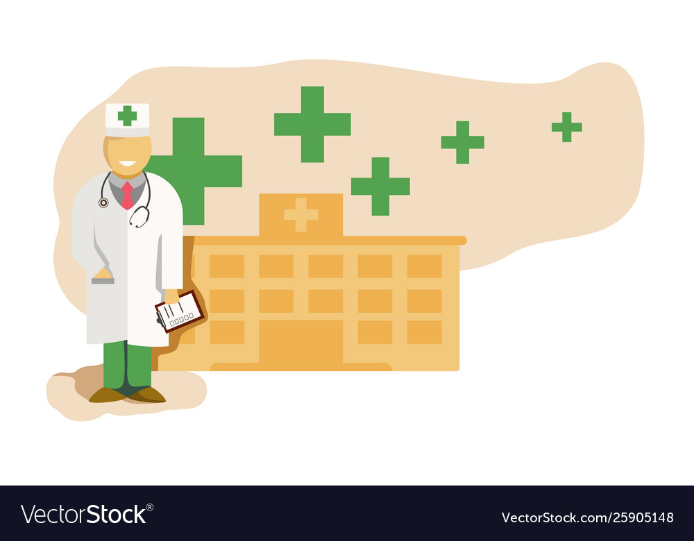 Medicine concept with doctor in thin line style