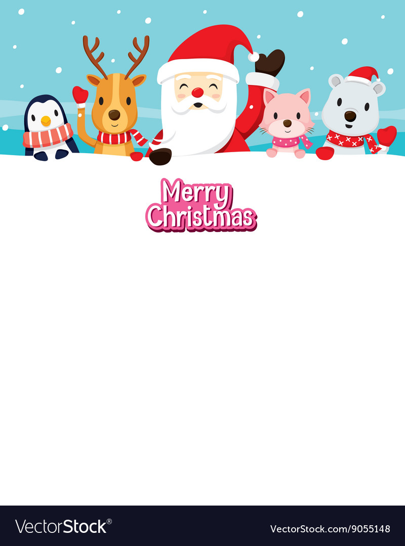 Santa Claus And Animals On Snow