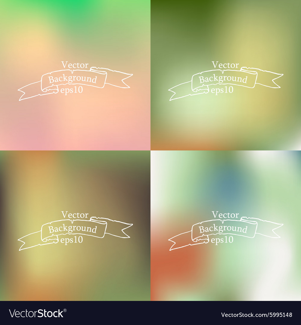 Set of four bright blurry backgrounds vector image on VectorStock