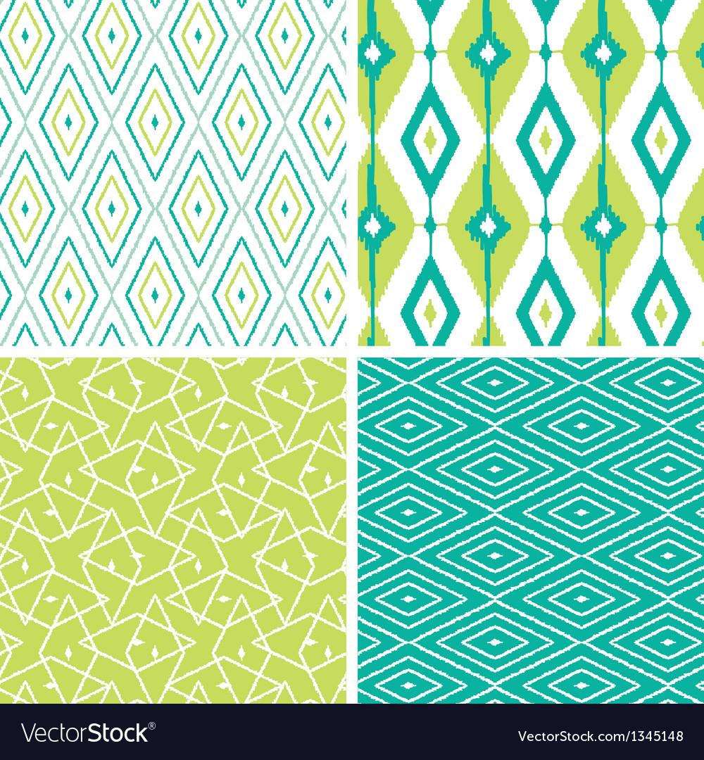 Set of green ikat diamond seamless patterns